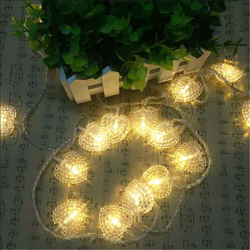 3M 20 LED String Light Battery Operated Heart Shaped Led Fairy Light Outdoor Garden Wedding Party Christmas Decor