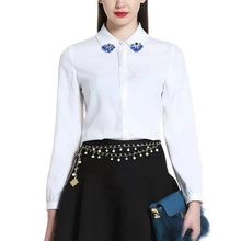 Nice Spring Ladies' White Blouse Elegant Office OL Shirt Beading Decorated Blouse Long Sleeve Lapel Shirt Style Tops AA8088