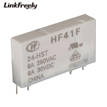 лучшая цена HF41F 24-HST 4 Pin PCB Micro Voltage Relay Switch Module 24V DC In 250VAC/30VDC 6A Output,Smart Auto Electromagnetic Relay Bank