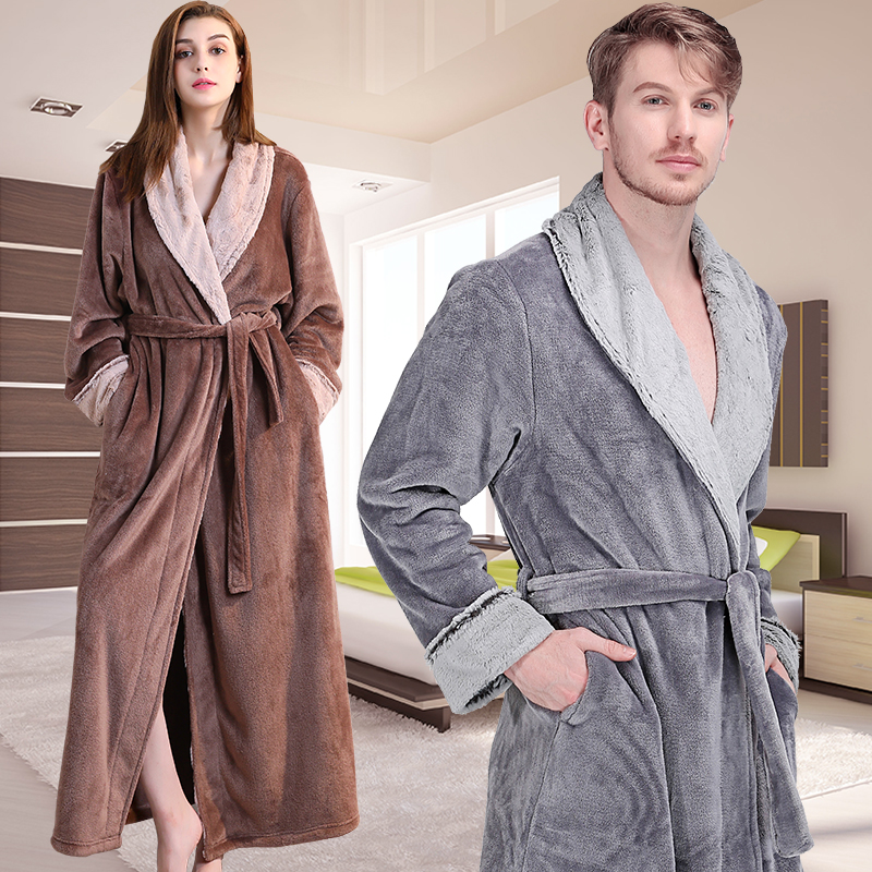 New Women Thermal Luxury Flannel Extra Long Bath Robe Winter Sexy Fur Bathrobe  Warm Dressing Gown Bride Wedding Bridesmaid Robes 2cc4f22f0