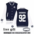2016 MONSTA X Kpop Hoodies Women Fans Supportive Zip-up Fleece Jacket Plus Size Baseball Uniform Sweatshirt Hip Hop Clothing