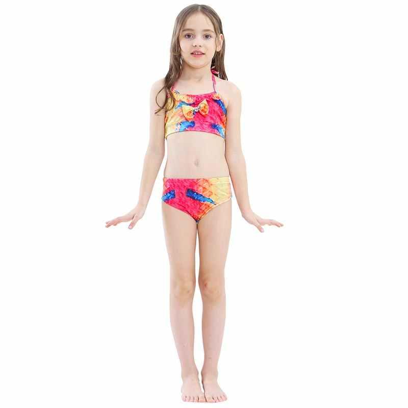 2019 3 cái/bộ NÓNG Trẻ Em Bé Gái Nàng Tiên Cá Đuôi Bơi Đồ Bơi Bikini Áo Tắm cho Bé Gái Bơi Không monofin Vây