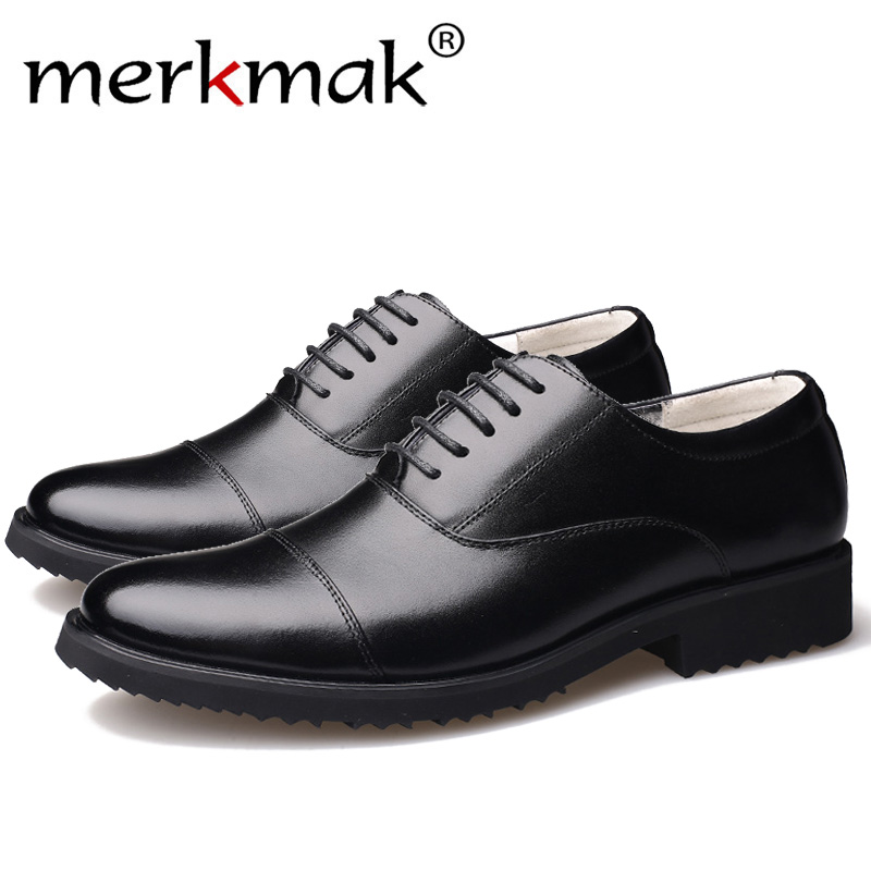 c56356b81065ac Merkmak New Fashion Oxford Business Men Shoes Genuine Leather High Quality  Soft Casual Breathable Men's Flats Zip Shoes-in Oxfords from Shoes
