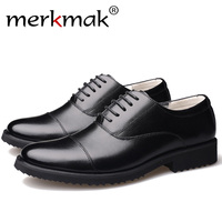 Merkmak New Fashion Oxford Business Men Shoes Genuine Leather High Quality Soft Casual Breathable Men's Flats Zip Shoes