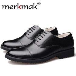 Merkmak Nova Moda Homens de Negócios Oxford Sapatos de Couro Genuíno Macio de Alta Qualidade dos homens Casuais Respirável Apartamentos Sapatos Zip