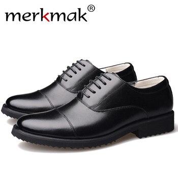 Merkmak nowa moda Oxford biznes męskie buty z prawdziwej skóry wysokiej jakości miękkie dorywczo oddychająca męska mieszkania na zamek buty