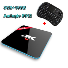 H96 Pro Tv Box Android 6.0 Amlogic S912 Octa core smart tv 3 GB RAM 16 GB ROM 2.4G wifi 4 K Smart Media Player + i8 Sans Fil Clavier