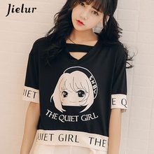 Harajuku Cute Caroon Girl Printed Letter T-shirts Women Short Sleeve Hollow Out V-neck Retro Loose Spell Color Female T-shirt блуза caroon