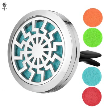 Aroma Essential Oil Diffuser Locket Sun 30mm Stainless Steel with 5 Easy-Switch Oil Pads VA-491 image