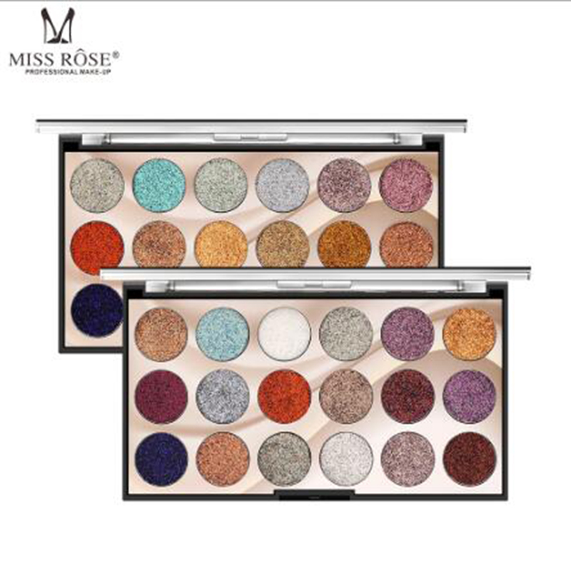MISS ROSE 18 color sequin glitter eye shadow disc Glitter shiny eye shadow Glitter powder high gloss eye shadow in Eye Shadow from Beauty Health