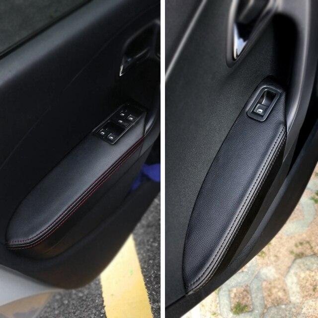 Apenas hatchback maçaneta da porta do carro braço painel capa de couro microfibra guarnição para vw polo 2011 2012 2013 2014 2015 2016