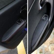 Apoyabrazos para manija de puerta de coche, cubierta de Panel de microfibra de cuero, embellecedor para VW Polo 2011 2012 2013 2014 2015 2016