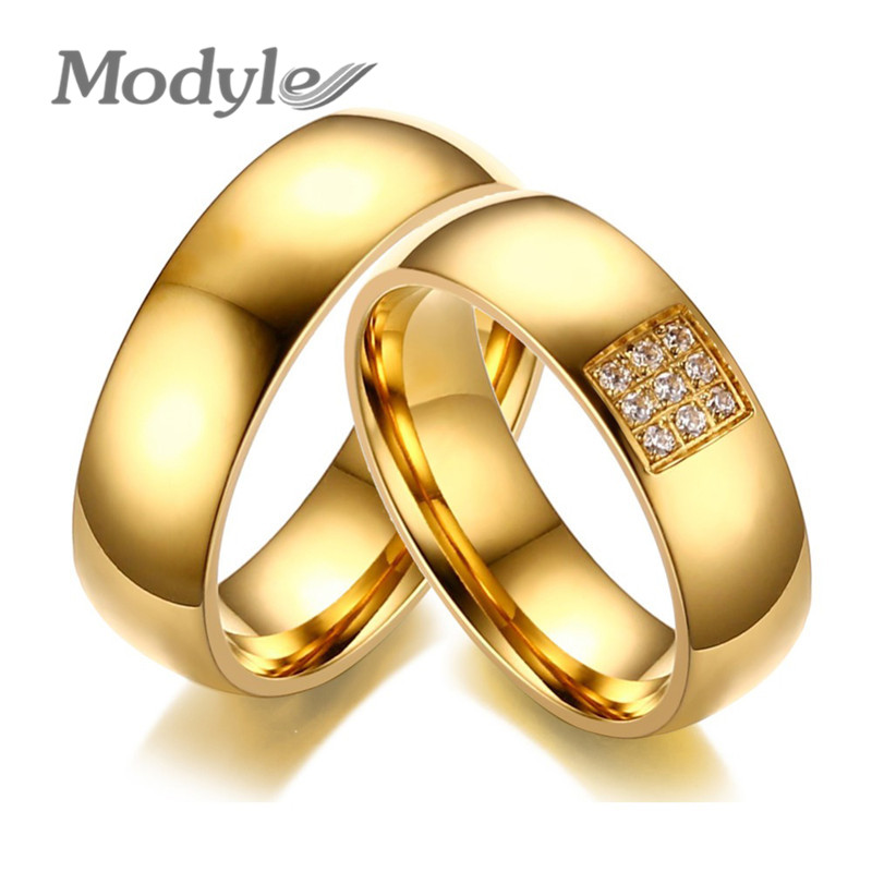 Modyle 2017 Simple Wedding Rings for Women Men Elegant AAA CZ Stones Gold-color Ring Alliance Promise Engagement Band Gift bangle