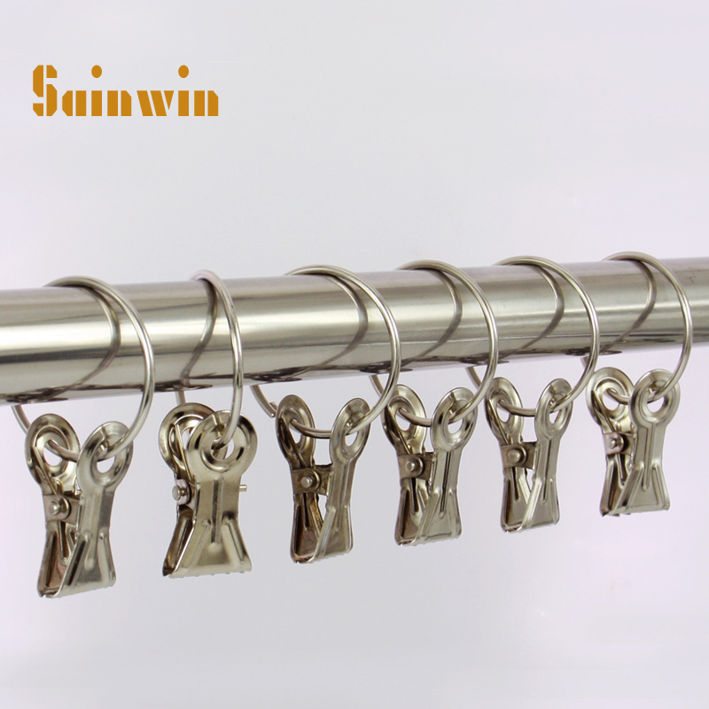 Sainwin 30pcs/lot Stainless steel hanger curtain tape ring clip multi purpose metal curtain small iron clip clothes rack