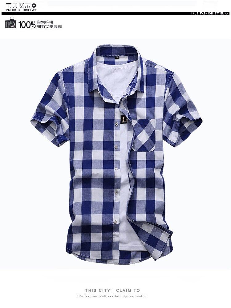 c78d83405c9 2019 Summer New Brand Men S Plaid Shirt Male Cotton Short Sleeve ...
