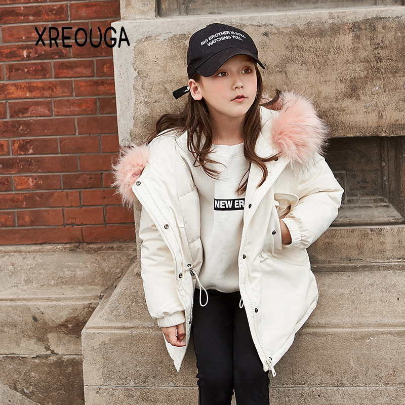 Thick Winter Fashionchildren jackets Girls Coats Hooded Faux Fur Collar Kids Outerwear Cotton Padded Baby Girl Snowsuit FS01 plus size winter women cotton coat new fashion hooded fur collar flocking thicker jackets loose fat mm warm outerwear okxgnz 800