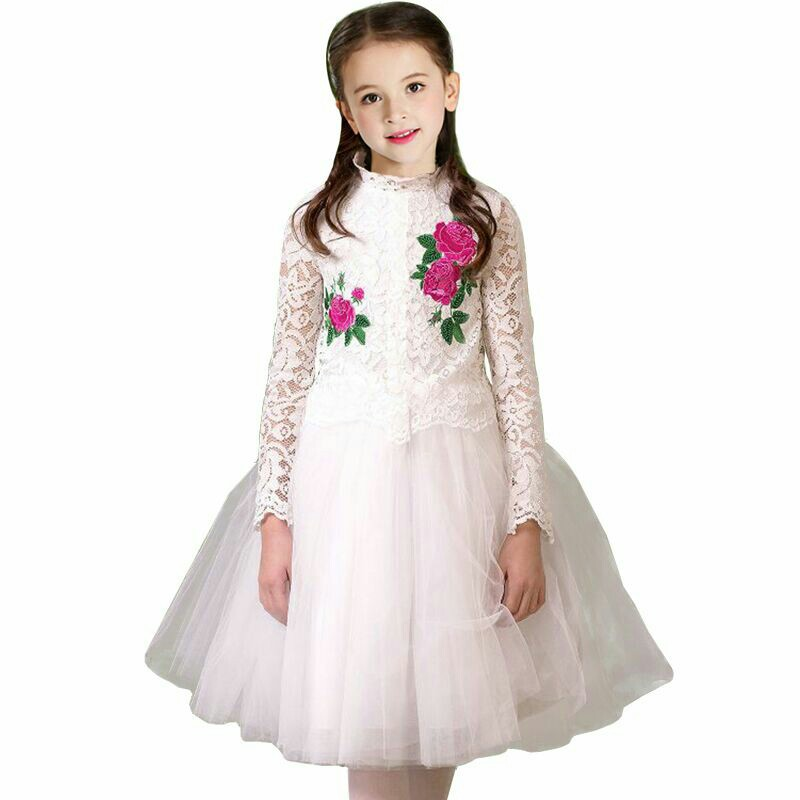 Flower Embroidery Elegant Girls Cotton Princess Dresses Long sleeve Lace Christmas Clothes Kids Wedding Party Dress