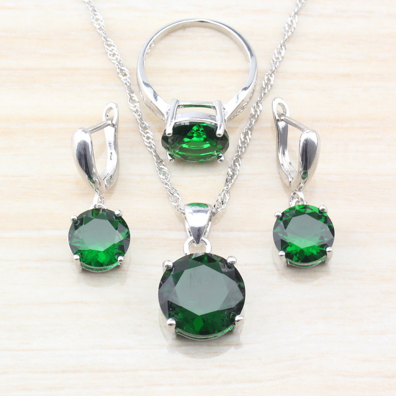 Jewelry-Set Chain/Ring Pendant/necklace 925-Sterling-Silver Green Women Round for TZ140