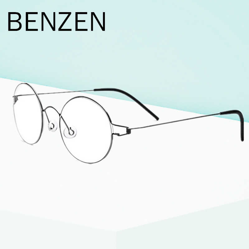 2c70121f636d BENZEN Titanium Glasses Frame Men Vintage Round Ultralight Screwless Myopia  Eyeglasses Korean Women Prescription Eyewear 5089