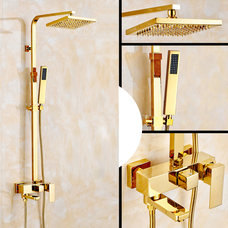 Deck Mounted Bathroom 8 Square Rain Shower Faucet In-wall Outdoor Swivel Tub Spout Bath and Shower Mixer Taps with Handshower