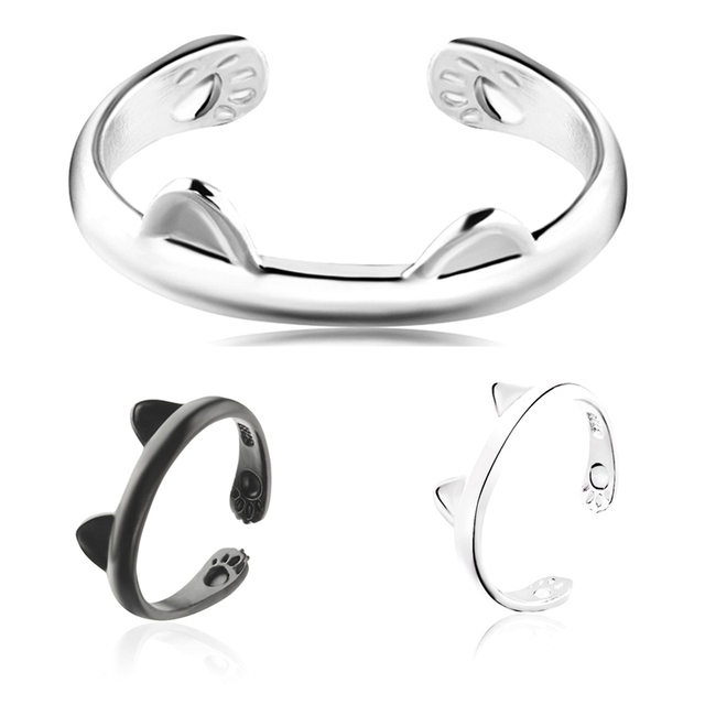 1 Piece!!!!! 2 Colors!!!! Cute Cat Open-end Ring cat's ears Rings Claw Paw Fashi