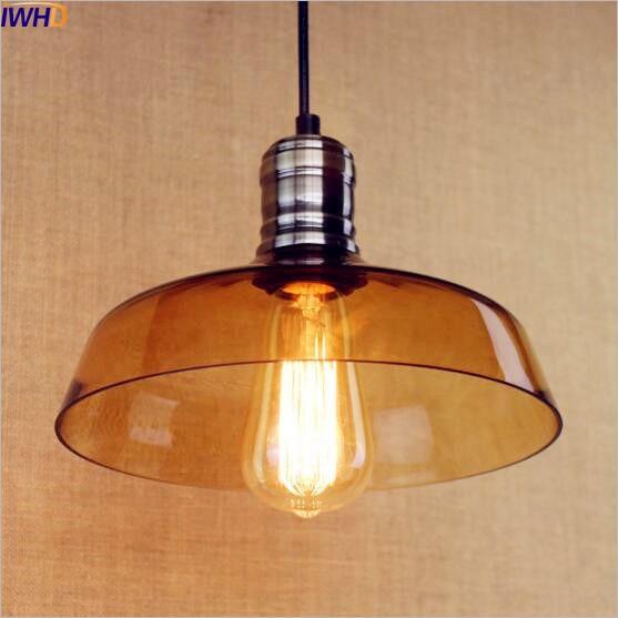 IWHD Glass Retro LED Pendant Light Fixtures American Loft Style Industrial Lamp Vintage Light Lampara Colgante Edison Lighting