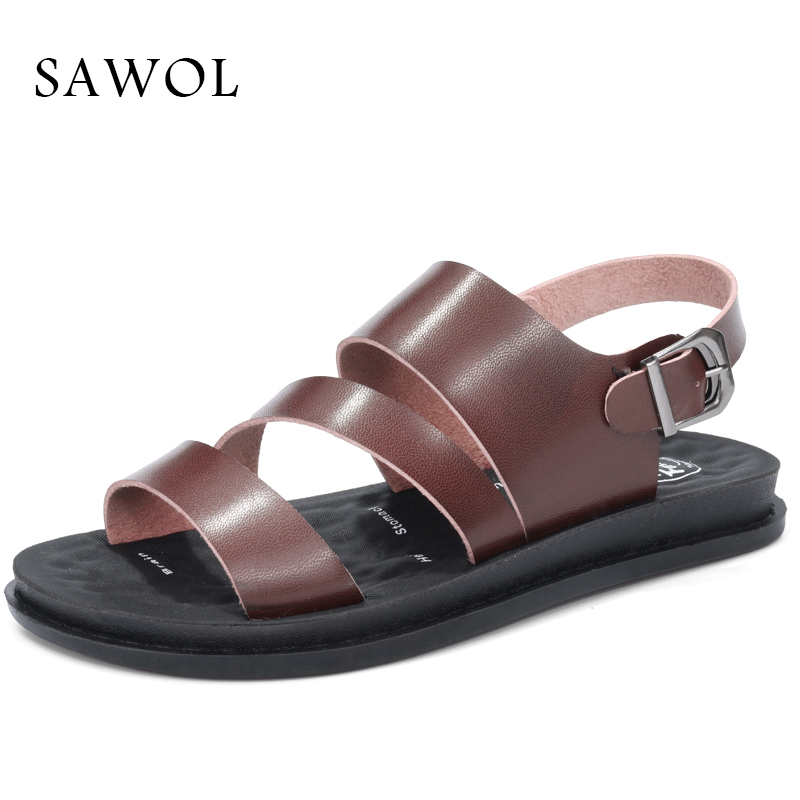 Sawol Women Beach Sandals Genuine Split Leather Women Slippers Flip Flops Brand Women Sneakers Casual Shoes Summer Shoes instantarts women flats emoji face smile pattern summer air mesh beach flat shoes for youth girls mujer casual light sneakers