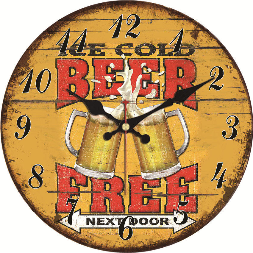Shabby Chic,Beer Free Wall Clocks,Vintage Wall Clock,Wall Watches Home Decor,Large Kitchen Clock