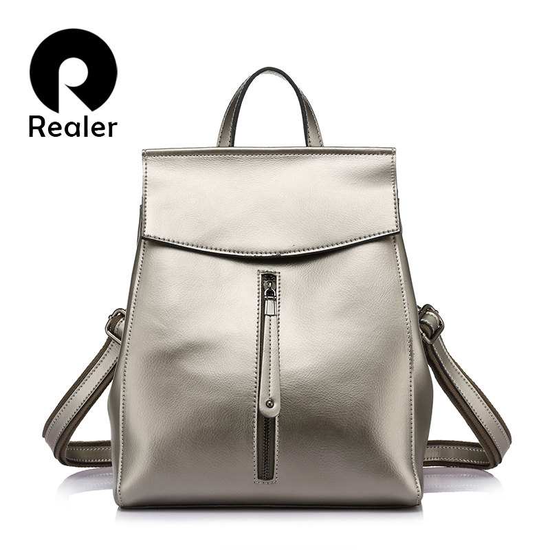 REALER brand women backpack high quality cow split leather backpacks ladies shoulder bags female school bag