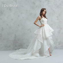 High Low Wedding Dresses Short Front Long Back with Lace Ruffles Ball Gown Real Photo(China)