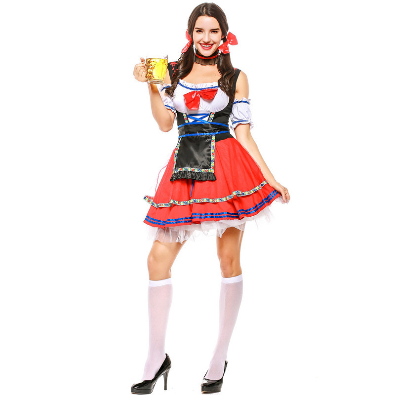 Red Beer Wench Costume For Women Traditional Oktoberfest Waitreee Costume Outfits Ladies Dressup Game Dress CS9703