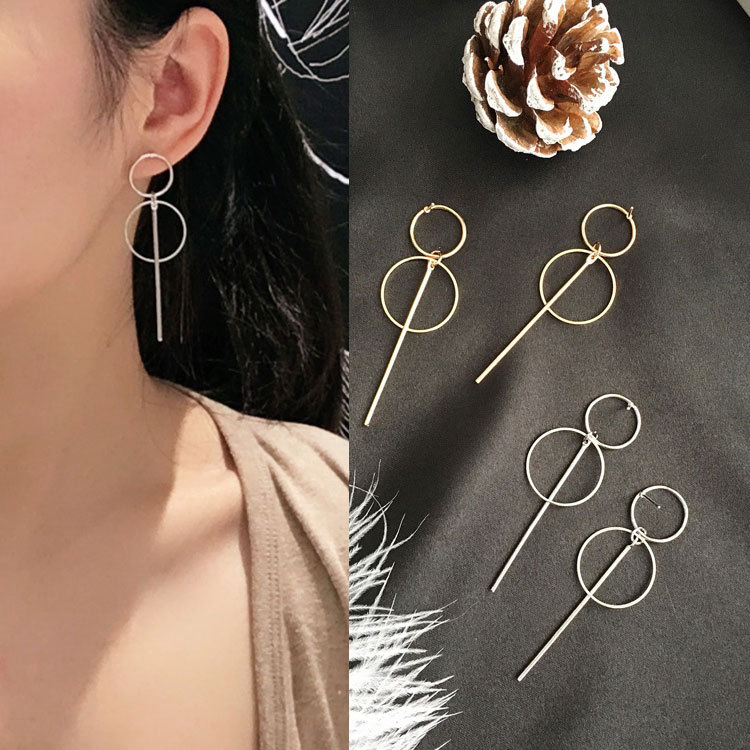 2017new Fashion Earrings Punk Simple Gold Long Section Tassel Pendant Size Circle Earrings For Ladies Gifts Wholesale