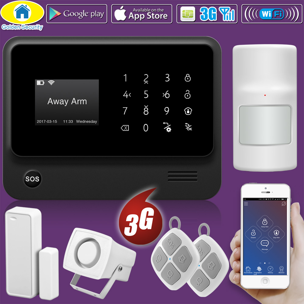 Golden Security WIFI GSM 2G 3G GPRS CID Supported Wireless  APP Remote Control Smart House Alarm Security System