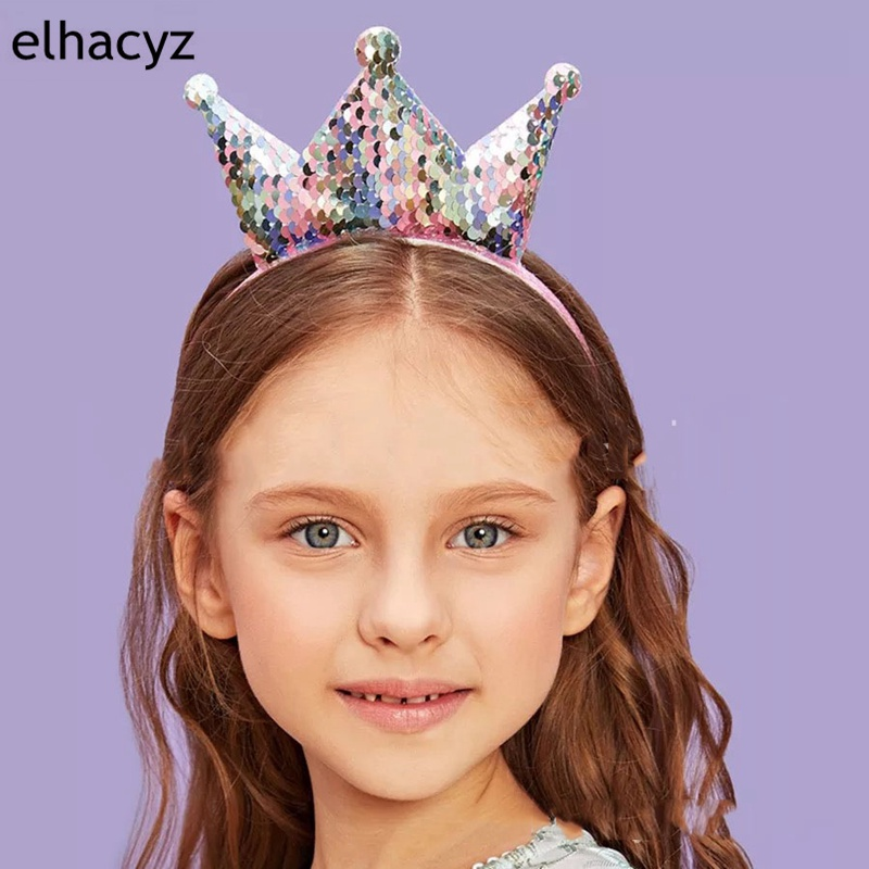 1PC Retail 2019 Rainbow Reversible Sequin Crown Hairbands For Girls Double-Sides Headband Handmade Hair Accesories For Children