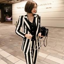 New fashion autumn womens OL professional temperament double-breasted warm striped blazer slim pants two-piece set