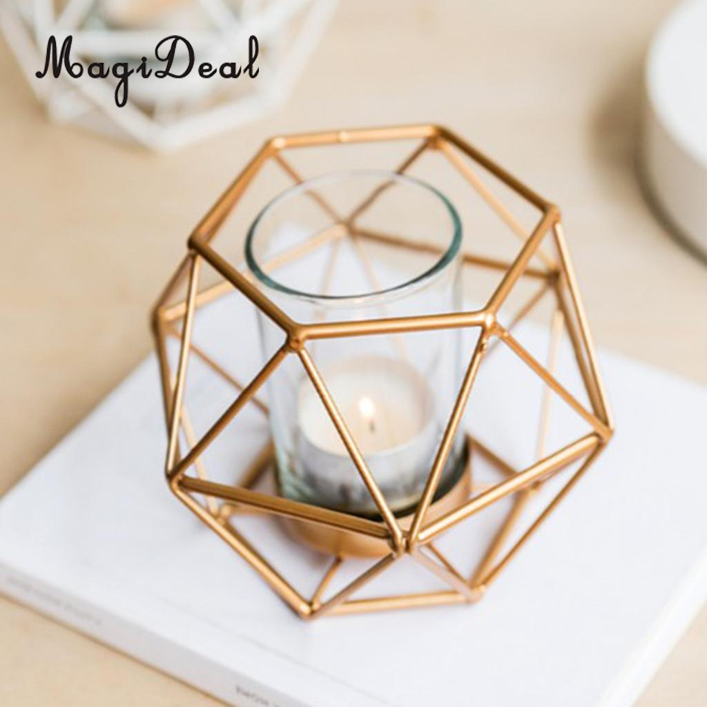 Geometric Copper Rose Gold Metal Wire Tea Light Candle Holder Lantern wedding