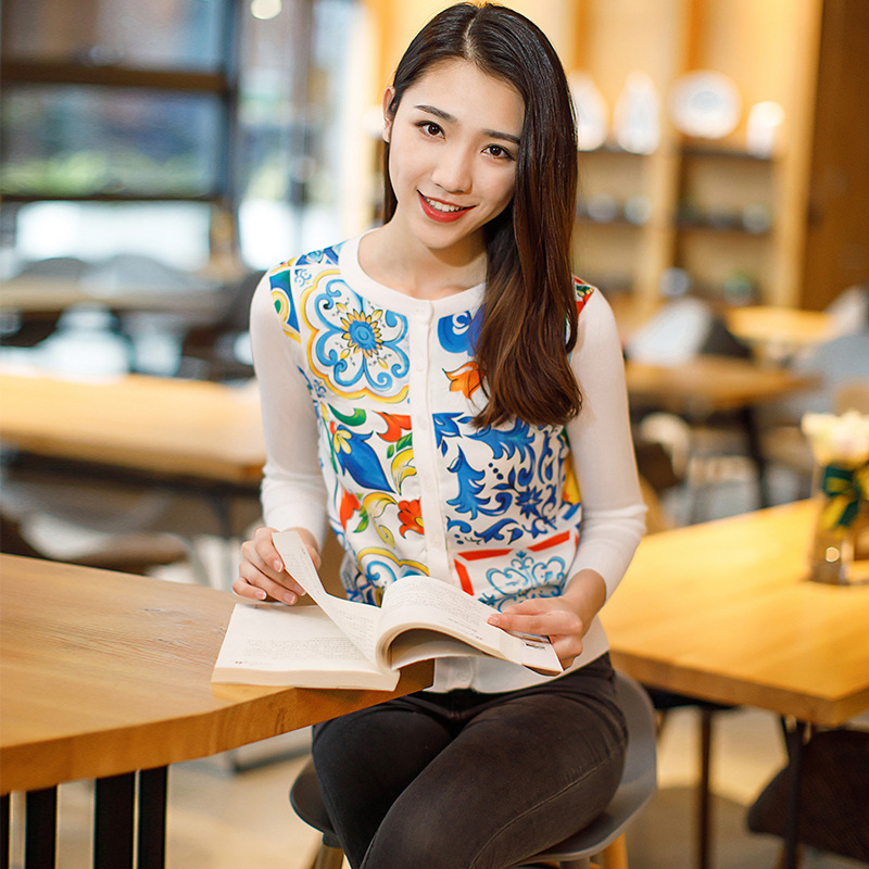 2018 New Spring Summer Fashion Women Cardigan Coat Elegant Long Sleeve Porcelain Print Casual Knitted Sweater Womens Tops