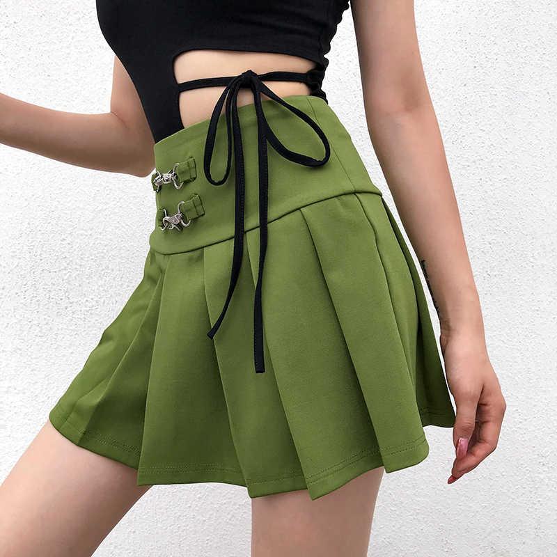Rapwriter из металла в стиле панк Пряжка Высокая талия плиссированная зеленая юбка для женщин 2019 летняя Уличная Сексуальная Женская мини-юбка Saias falda