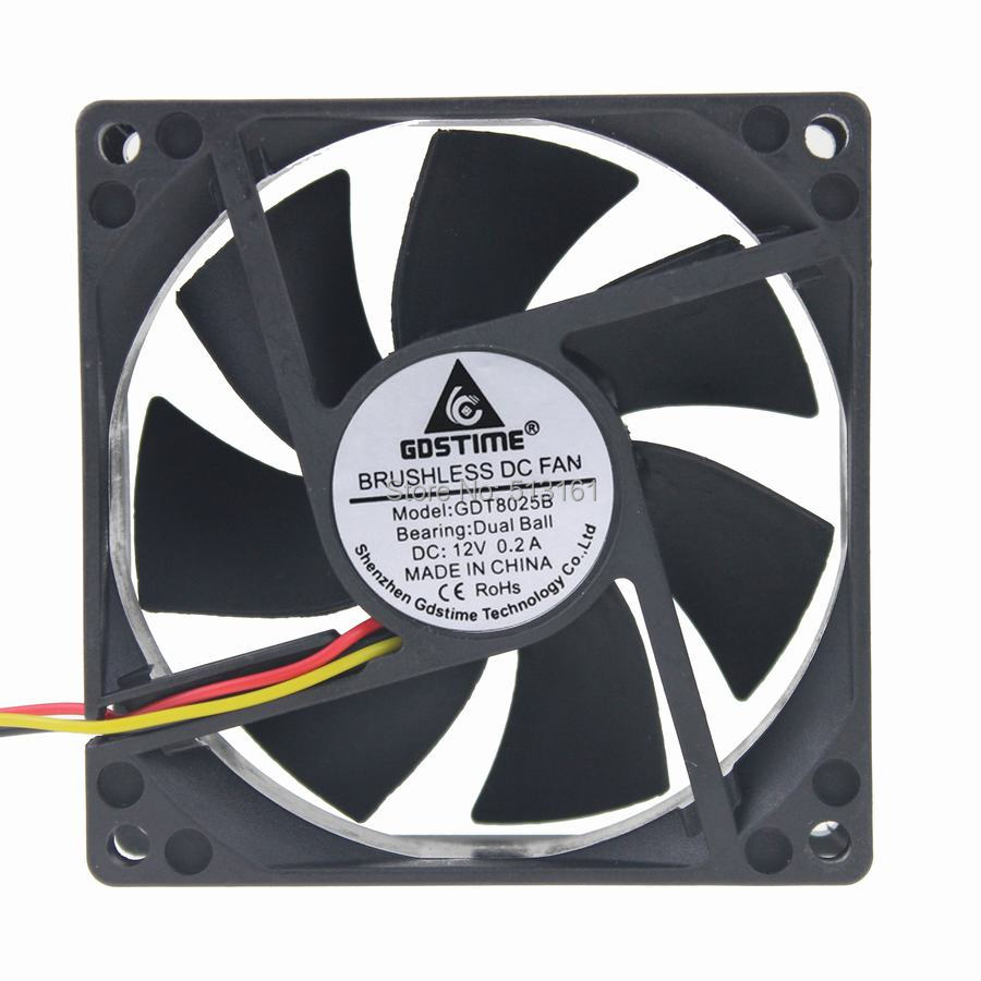 Gdstime 80mm CPU Cooling Fan 3 Pin Ball Bearing 12V 8CM PC Quiet Cooler 80x80x25mm смартфон lg k7 2017 8 гб коричневый lgx230 acisbn