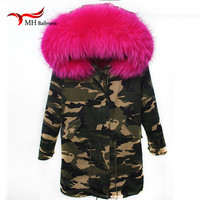 Leather Women Green warm Winter Mrs fur Coat parka with big Real Raccoon fur collar Jacket Imitation fur lining A#18