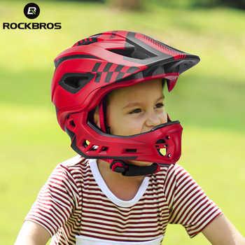 ROCKBROS Full Covered Kids Helmet Bike Bicycle Parallel Car Motorcycle Children Helmet 2 In 1 Sport Safety Racing Mouth Guard