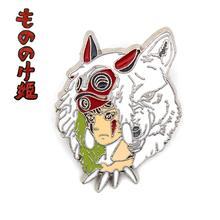 FINETOYS аниме Ghibli фигурка Принцесса Мононоке Сан металлический значок брошь булавки Грудь Кнопка Мультфильм орнамент косплэй коллекция игрушка в подарок лидер