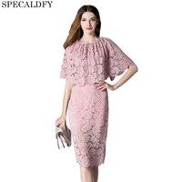 2018 Designer Summer Pink Black Lace Dress Women Elegant Cape Dresses Sexy Evening Party Pencil Dresses Ladies Office Vestidos