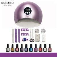 BURANO Nail Kit Dryer 36W UV LED Lamp&UV Gel Varnish Polish Top Base Coat Manicure Tool Nail Polish For Nail sets