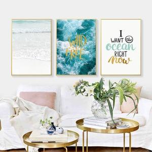 Image 2 - Meerwasser Ozean Wand Kunst Leinwand Malerei Für Wohnzimmer Nordic Poster Buchstaben Zitate Dekoration Wand Bilder Unframed