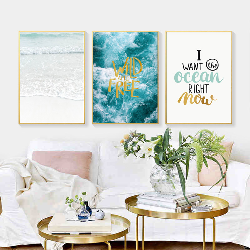 Image 2 - Seawater Ocean Wall Art Canvas Painting For Living Room Nordic Poster Letters Quotes Decoration Wall Pictures Unframed-in Painting & Calligraphy from Home & Garden