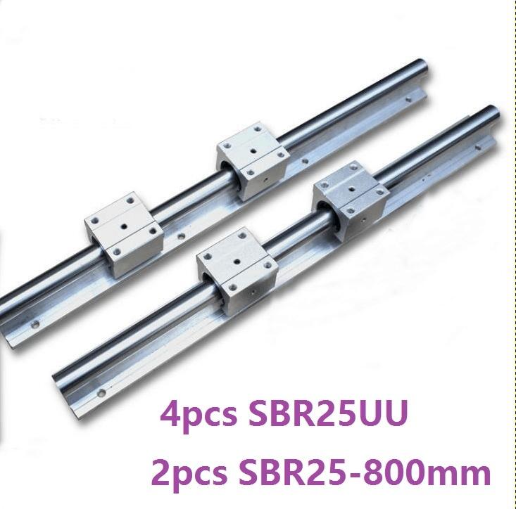 2pcs SBR25 25mm -L 800mm support rail linear guide + 4pcs SBR25UU linear bearing blocks for CNC router parts linear rail guide best price for 2pcs sbr25 l950m linear guide 4pcs sbr25uu bearing blocks