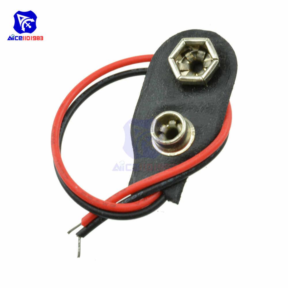 10 pçs/lote snap on 9 v bateria titular clipe conector escudo duro 10 cm cabo de chumbo