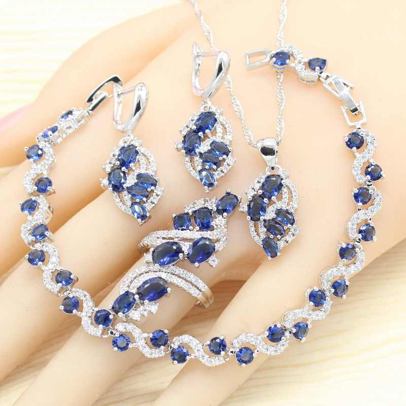 925 Silver Jewelry Sets For Women Royal Blue Semi-precious Earrings Bracelet Rings Necklace Pendant Wedding Jewelry Gift Box