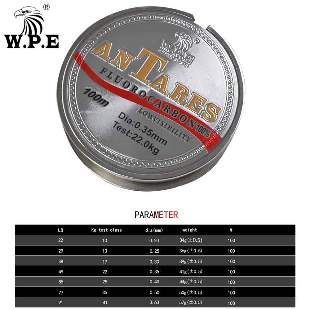 W.P.E Brand New ANTEROS Fishing Line 0.20mm-0.60mm Fluorocarbon Fishing Line 100m 10KG-41KG Carbon Fiber For Carp Fishing